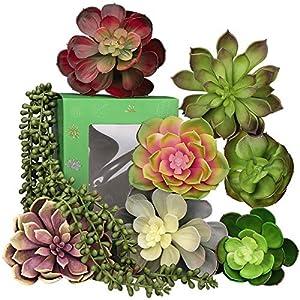 Silk Flower Arrangements Hopewood 8PCS Large Artificial Succulents,Fake Large Succulents,Faux Succulent Unpotted,Innovative Table Plant Home Decoration