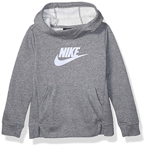 Nike Girl's NSW Pullover Hoodie, Carbon Heather/Lavender Mist, Small