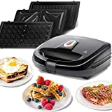 Aigostar Rubik 30JVU - 3 in 1 appliance: grill, waffle iron and sandwich maker. Non-stick and interchangeable plates. High power 750W, automatic thermostat. Exclusive design.