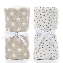 LeerKing Paquete de 2 Manta Polar para Bebes Recien Nacidos con Patrón de Manchas y Estrellas para Niña y Niño 75 * 100CM, Gris & Blanco