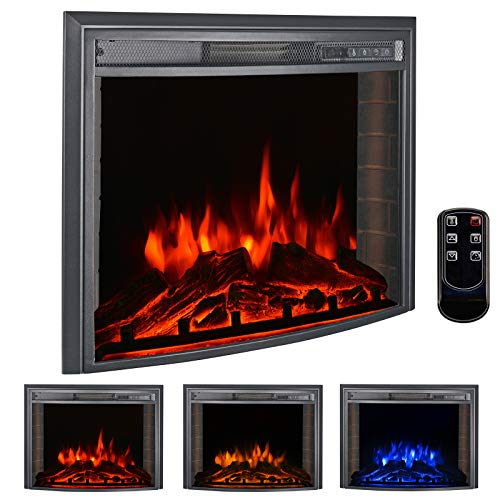 bigzzia 26' Curved Screen Insert Electric Fireplace, 750W-1500W Electric Stove Heater with Adjustable Time Setting, Dimmer, Heater, Temperature & Remote Control for Home Use
