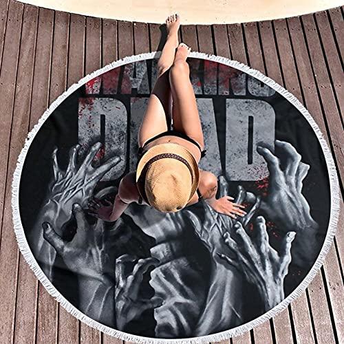 Toalla de playa de microfibra redonda grande D He Wal-King De-Ad superabsorbente, secado rápido, 150 cm de diámetro, alfombra para exteriores, manta de picnic y esterilla de yoga