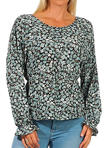 ONLY Damen Langarm-Bluse ONLFuchsia mit Blumen-Muster 15226458 Dusty Turquoise AOP: Ranch floral S
