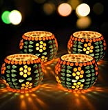 TIED RIBBONS Set of 4 Decorative Mosaic Glass Votives Bisque T Light Holder Votive Holder for Home Decoration Accessories Items and House Warming