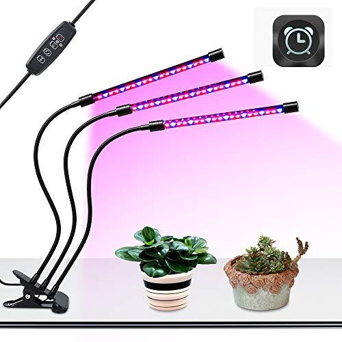 BLOOMWIN Pflanzenlampe Pflanzenlichter Led Grow Lampe Wachstumslampe Pflanzenleuchte Blumenlampe USB Led Pflanzenlampe Rot Blau 27W 3Modi Dimmbar 8 Helligkeiten 360° einstellbar