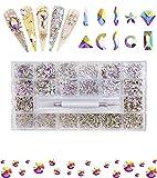 Bedazzler Uñas Acrílico Suministros de Uñas - Flatback Rhine Stone/Black Rhinestone/Iridescent Beads Accesorios para el Diseñador-600+4700 White AB