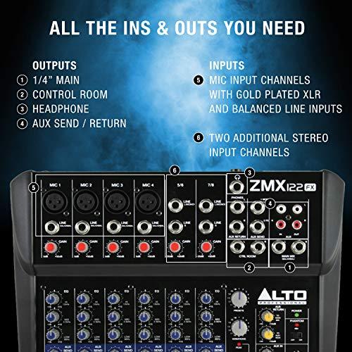 Alto Professional ZMX122FX – Table de Mixage Compacte 8 Voies avec Effets Intégrés, 4 Entrées...