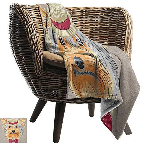 ZSUO Travel deken Yorkie,Be schattig portret van een schattige hond met oorbellen ketting bril hoed make-up lichtbruin koraal gooi lichtgewicht Cozy pluche microvezel Solid deken