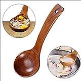 Chenny Suppenlöffel natürlicher japanischer Holz Suppe Brei Ramen Reis Langer Griff Löffel Besteck geeignet für Familienrestaurant (S) - 4