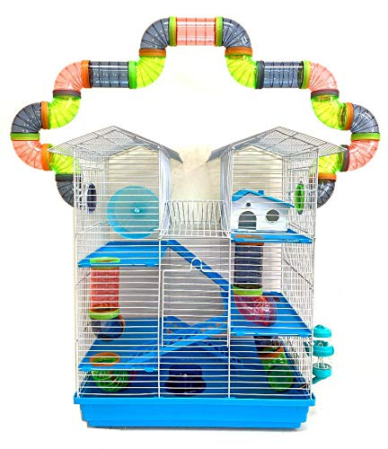 5-Level Large Crossover Twin Tower Tube Tunnel Habitat Hamster Rodent Gerbil Mouse Mice Rat Cage (Blue)