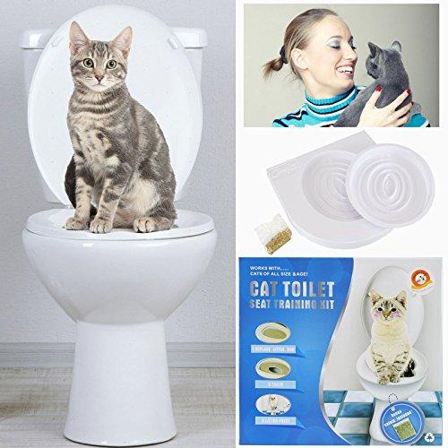 Sistema de entrenamiento de gatos para uso de asiento del inodoro, incluye hierba gatera y guía detallada paso a paso