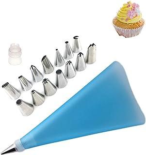 Jixista Decorazione Torta Set decorare torte in acciaio inox 1 adattatore 1 sacchetto di silicone 14 Beccucci per Pasticce...