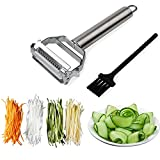 Sunkuka Julienne Peeler Stainless Steel Cutter Slicer with Cleaning Brush Pro for Carrot Potato...