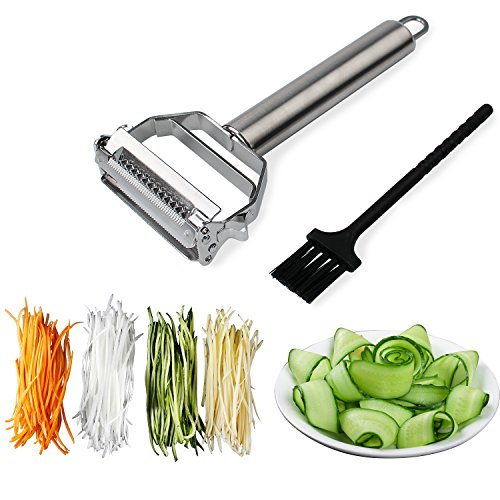 top 10 pampered chef julienne peeler Sunkuka Julienne Peeler Stainless Knife (with cleaning brush) Pro for carrots and potatoes…