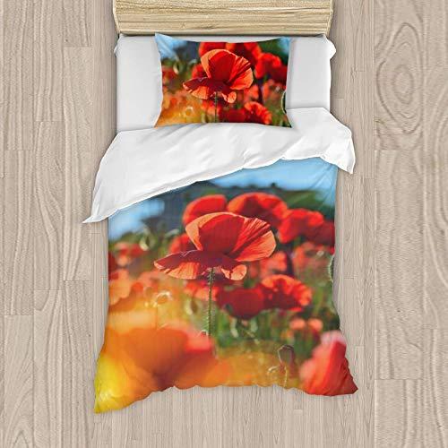 Juego de ropa de cama para niña, funda de almohada de 50 x 80 cm, funda nórdica de 135 x 200 cm, 121% algodón