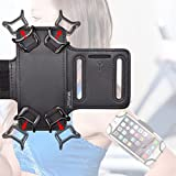 WANPOOL Running Sports Armband with Key Slot Holder for 4 Inch to 5.1 Inch Cell Phones - iPhone 6 / 6S / 7 - iPhone SE - Samsung Galaxy S4/ S5/ S7 and More- (Black & Black)