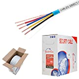 Cables Direct Online, 22/4 Solid 500FT Shielded Low Voltage Security Alarm Wire Control Cable Burglar Station Bulk PVC Pull-Out Box
