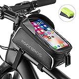 [page_title]-ROCKBROS Fahrrad Rahmentasche Wasserdicht für Handys bis zu 6,0 Zoll mit Kopfhörerloch Handytasche Handyhalterung Touchscreen Unten-Öffnung