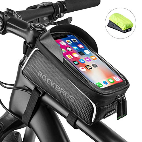 ROCKBROS Bike Frame Bag Water Resistant Bicycle Front Top Tube Bag Screen Touch Fits Phones for 6.5' Below (Upgrade Black)