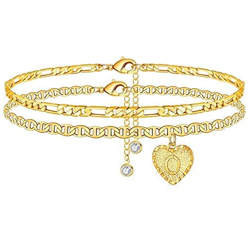 Tobillera con diseño de letra del alfabeto con corazón y diamantes de 24 quilates, chapado en oro de 24 quilates, doble capa, pulsera de cadena de marinero, joyería para mujeres y niñas