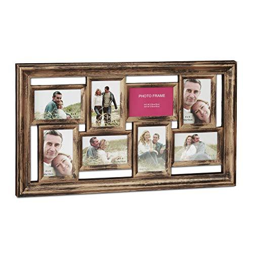 Relaxdays Bilderrahmen, Collage für 8 Bilder, 10x15 cm, Hoch- & Querformat, antik, Fotocollage, HxB 39,5 x 68 cm, bronze