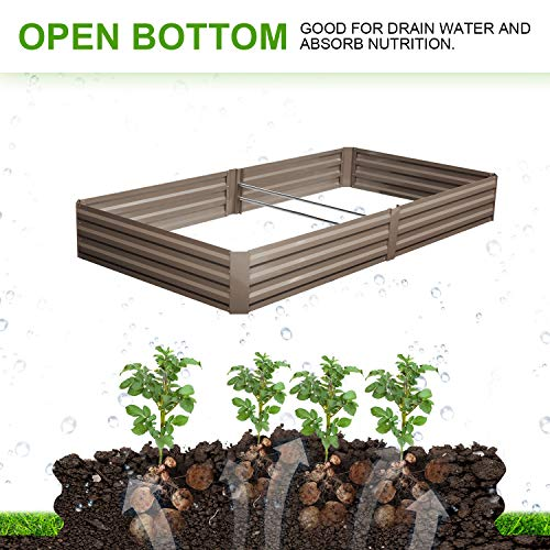 Outdoor 8x4 Ft Metal Raised Garden Bed Patio Large Frame Planters Box for Vegetables/Flower/