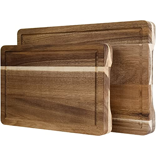 Acacia Wood Cutting Board with Juice Groove & Handles(2 piece set), Reversible Chopping Board for Meat(Butcher Block), Vegetables, Fruits, Bread, Cheese