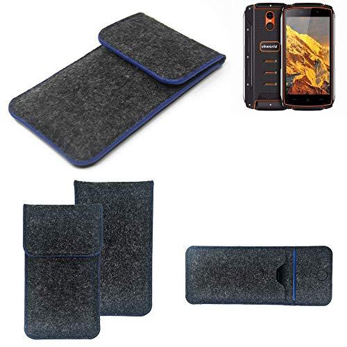 K-S-Trade® Filz Schutz Hülle Für Energizer P20 Schutzhülle Filztasche Pouch Tasche Case Sleeve Handyhülle Filzhülle Dunkelgrau, Blauer Rand