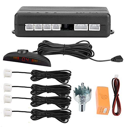 EBTOOLS Sensori di parcheggio per il backup dell'auto, sistema di rivelatori di parcheggio a inversione di marcia con trasmissione vocale inglese con 4 sensori radar(bianco)