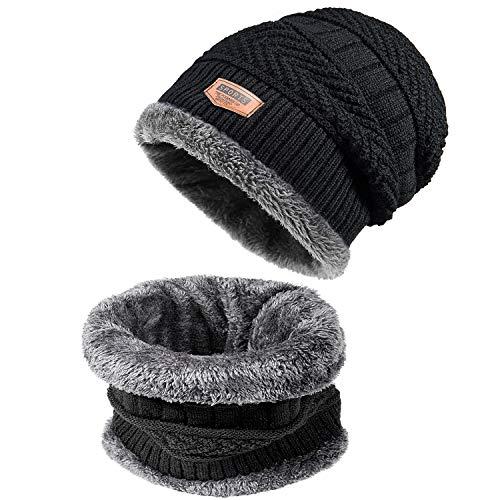 Czemo Calentar Sombreros Gorras Beanie de Punto Gorro y Bufanda Invierno de Los Hombres Gorro de Tejer y Bufanda de Lana Caliente Gorro Sombrero