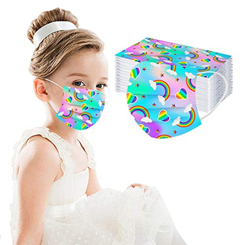 Cute Disposable Face_mask for Girls Kids Cartoon Rainbow Printed Paper Face_mask for Coronɑvịrus Protection with Nose Wire Breathable 3 Layers Thick Non-woven for School Daily Use (C)