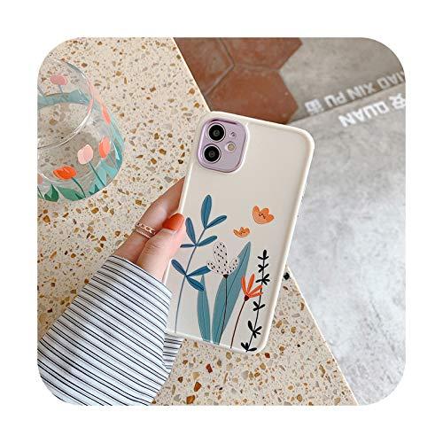 Para iPhone 12 Pro Case Heart Flowers Funda para iPhone 12 Mini 11 Pro Max 8 7 Plus X XS Max XR Mármol Soft TPU Bumper Cover -T2-Para iPhone X o XS