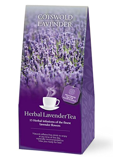 English Herbal Lavender Tea Bags by Cotswold Lavender. 15 Herbal Infusions of Pure Lavender Flowers for Peaceful Sleep and Slumber. Filled with Finest Flowers. Each Biodegradable Pyramid Bag will make Several Drinks.