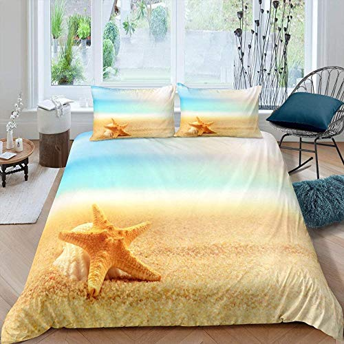 Bevvsovs Duvet Cover Set 3 Pieces Single 135 X 200 Cm Beach Seascape Shell Starfish Printed Bedding Quilt Cover With Zipper Closure For Bedding Decro, Ultra Soft Microfiber Suitable For Adults, Chil