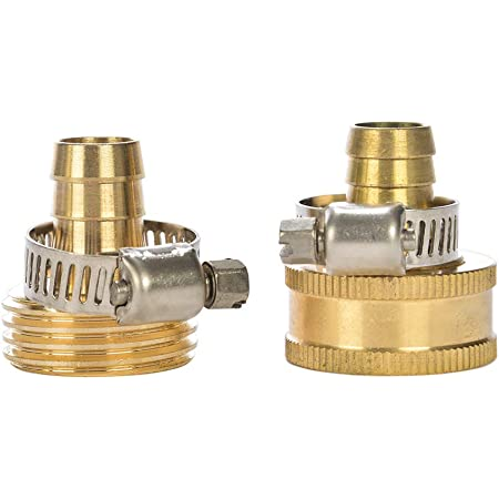 Gardeningwill 3Sets Brass 1//2 Garden Hose Mender End Repair Male Female Connector with Stainless Clamp