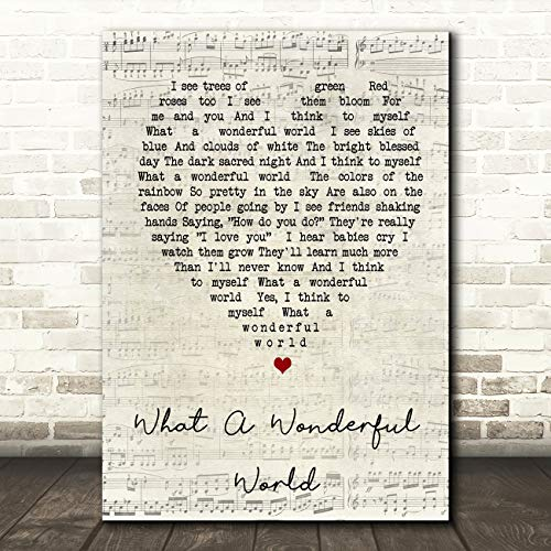What A Wonderful World Script Heart Song Lyric Quote Wall Art Gift Print