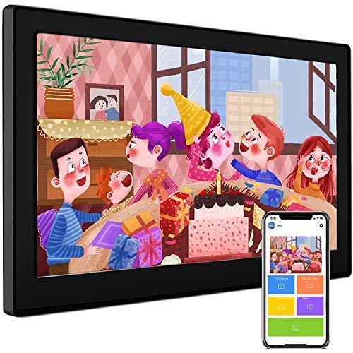 Cornice digitale 10,1 pollici 16:10 HD IPS Display cornice cornice cornice display touch screen wifi calendario orologio sveglia video digitale e foto istantanea via e-mail o app, pezzo (nero)