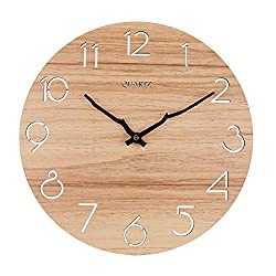 OURISE 12 Inch Vintage Round Wooden Wall Clock,Silent & Non-Ticking Home Decorative Wall Clock,Easy to Read Home/Office/Classroom/School Rustic Clock,Battery Operated(04)