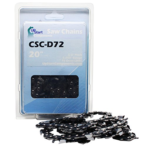 "3-Pack Replacement 20"" Full Chisel Saw Chain for Stihl, Husqvarna, Poulan Compatible with - Stihl Ms290, Husqvarna 450 Rancher, Husqvarna 435 (3/8"" Pitch, 0.050"" Gauge, 72 Drive Links, CSC-D72)"