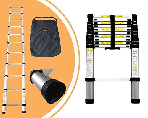 Leogreen - Teleskopleiter, Ausziehbare Leiter, 3,2 Meter, GRATIS Tragetasche, EN 131, Maximale Belastbarkeit: 150 kg, Abstand zwischen den Sprossen (Leiter ausgeklappt): 30 cm
