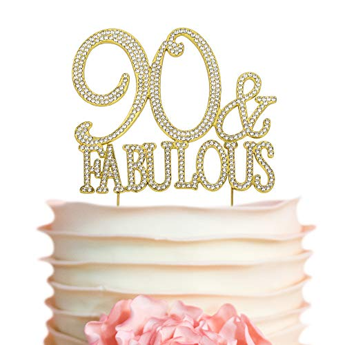 90 and Fabulous Cake Topper - Gold