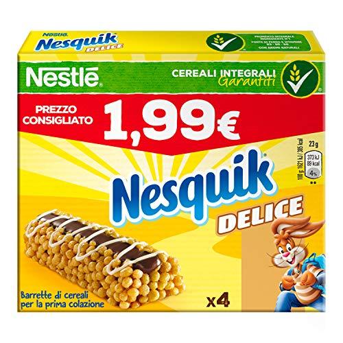 Nesquik Delice Barrette di Cereali con Cioccolato al Latte, 4 x 23g