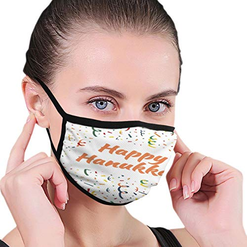 Happy Hanukkah Card with Exploding Party Popper Face Protection - Unisex Cotton Dustproof Mouth Mask - Reusable Warm Windproof for Outdoor Activities