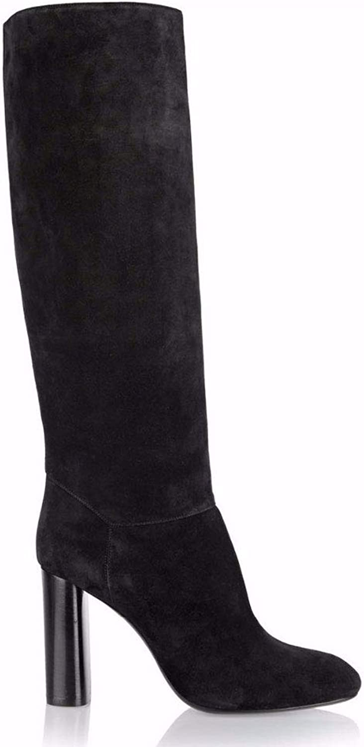 Women's High Heel and Knee Boots Round Head Thick with Boots Side Zipper Waterproof Platform Elastic High Boots