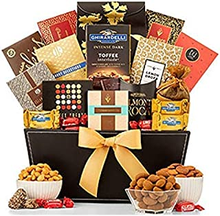 GiftTree Grand Reception Gift Basket | Caramel Stroopwafel, Peach Rings, Lemon Drops, Tropical Mix, Assorted Nuts, Chocolate Chip Cookies & More | Perfect Birthday, Holiday, Business or Corporate Gift