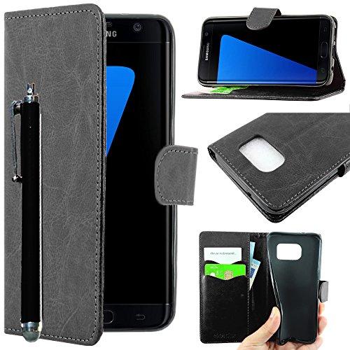 ebestStar - kompatibel mit Samsung Galaxy S7 Edge Hülle SM-G935F G935 Kunstleder Wallet Hülle Handyhülle [PU Leder], Kartenfächern, Standfunktion + Stift, Schwarz [Phone: 150.9 x 72.6 x 7.7mm, 5.5'']