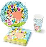 UMOI Set per Le Feste di Compleanno di Carta, USA e Getta, 30 Piatti, 30 Bicchieri e 60 tovaglioli di Alta qualità per Le Feste dei Bambini, Set 120 Pezzi (Ape)