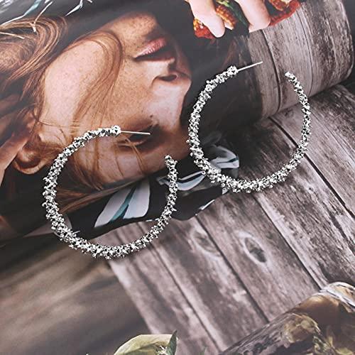 CXWK Pendientes de aro Redondos geométricos con círculo de Metal Giratorio Entretejido con distorsión a la Moda para Mujer, Accesorios, joyería Retro para Fiesta