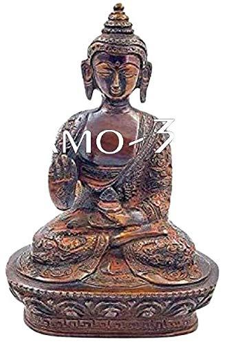 Brass Buddha Statue Gautam Buddha Idol Sculpture,Worship Indoor Home Room Office Meditation Decor Gift Yoga Tibetan Buddhism Amitabha Figurine Bronze Size -7 inch