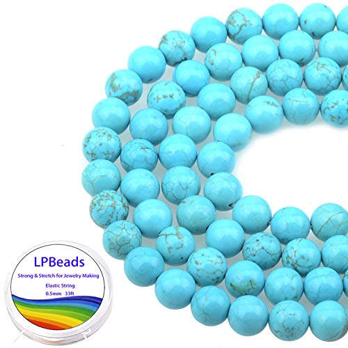 LPBeads 100PCS 8mm Blue Turquoise Gemstone Round Loose Beads for Jewelry Making with Crystal Stretch Cord